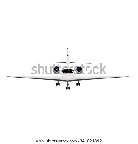 Vector illustration private business jet flying in the sky. Commercial flight and airlines - stock vector