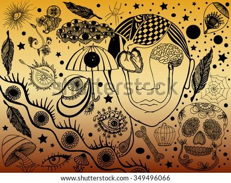 Vector illustration, psychedelic mind portrait, surreal combination, gradient background, card concept. - stock vector