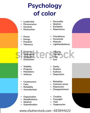 vector illustration, psychology of color, color values, red, orange, blue,
