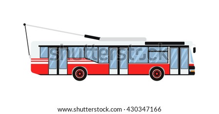 Vector illustration public transport trolleybus. Transportation urban city vehicle trolleybus and traffic road icon trolleybus. Trolley electric passenger sign, symbol machine trolleybus. - stock vector
