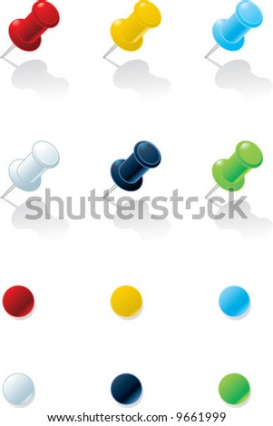 Vector illustration: Push-pins of various colors - stock vector