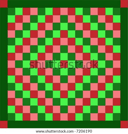 """Vector illustration quilt series--christmas """"trip around the world"""" quilt. - stock vector"""