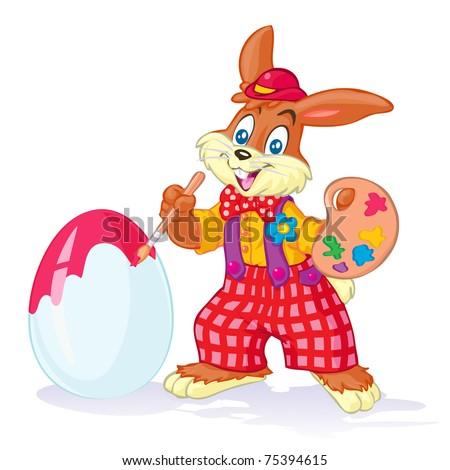 Vector illustration, rabbit painting Easter eggs, cartoon concept, white background.