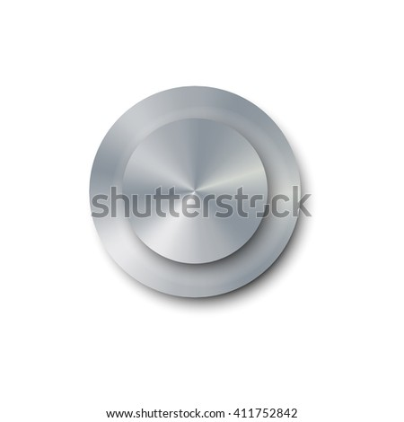 Vector illustration realistic screw bolt isolated on white background. Bolt cap top view. Metal shiny screw bolt - stock vector