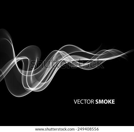 Vector illustration realistic smoke on black background  - stock vector