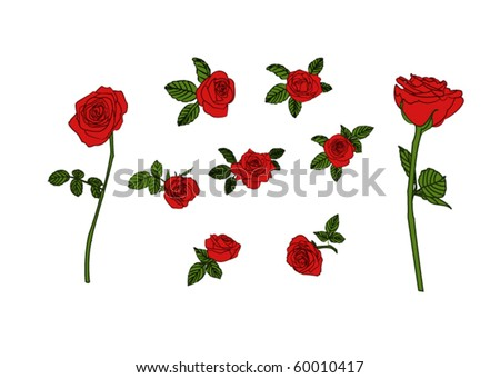 Vector illustration. 9 red roses. - stock vector