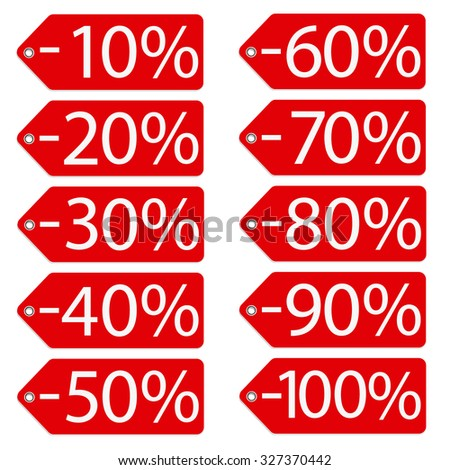 Vector illustration red sales tags with percentage from 10 to 100. Price stickers. Sale labes - stock vector