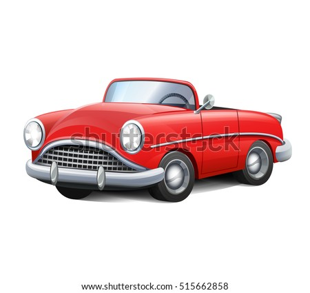 Stock Vector Illustration Retro Car Red Convertible Vintage Cartoon Realistic Style Icon Mg Symbol Shutter
