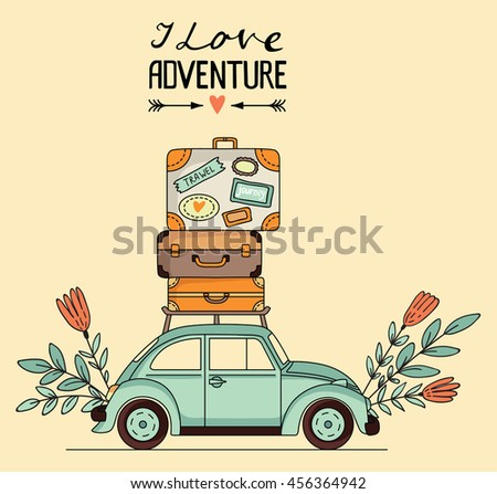 Vector illustration. Retro car with luggage on the roof and space for your text - stock vector