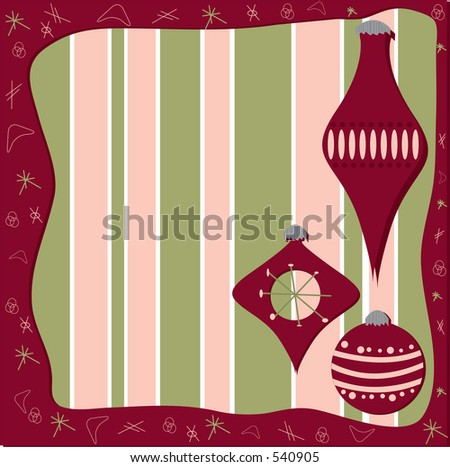 Vector illustration, retro holiday frame and design elements.