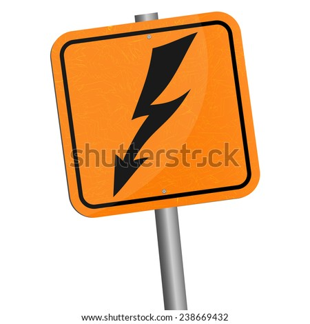 Vector illustration. Rickety metallic pole wish sign of danger - high voltage symbol isolated on white background. EPS 10. - stock vector