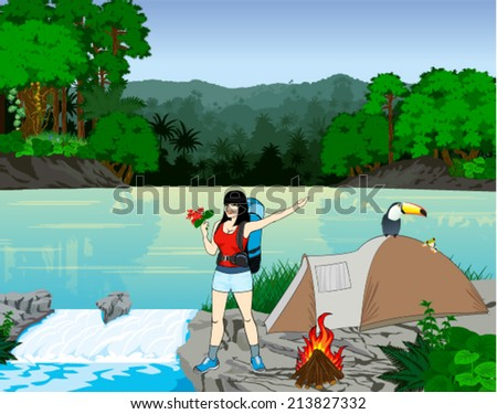 Vector Illustration River in Jungle Rainforest with Frog, Toucan and girl traveler with flowers - stock vector