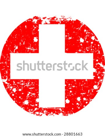 Vector illustration - Round Swiss flag in retro style - stock vector