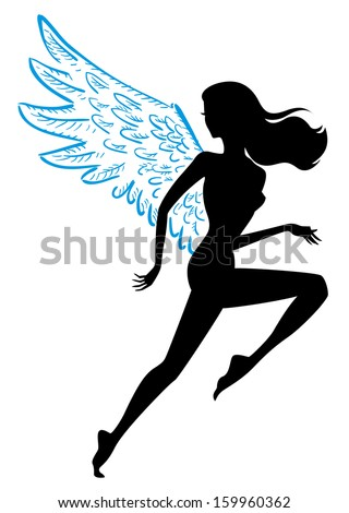 vector illustration runner with wings, female - stock vector