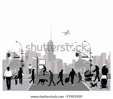 Vector illustration.Rush city street.Crowd of people walking