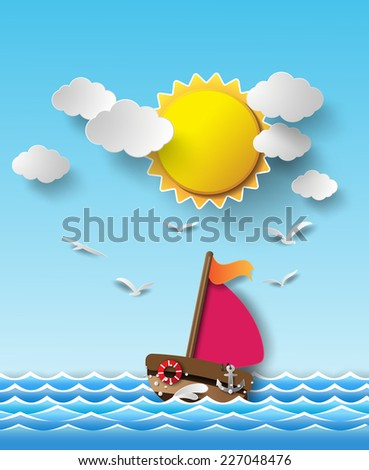 Vector illustration sailing boat and cloud .paper cut  style.