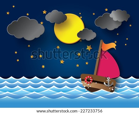Vector illustration sailing boat at night.paper cut style.