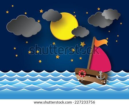 Vector illustration sailing boat at night.paper cut style. - stock vector
