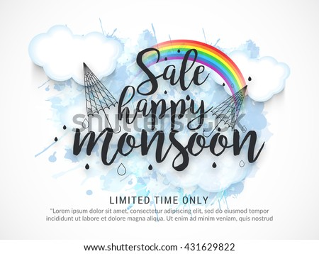 Vector illustration,sale banner,poster or flyer for Monsoon season with raining drops. - stock vector