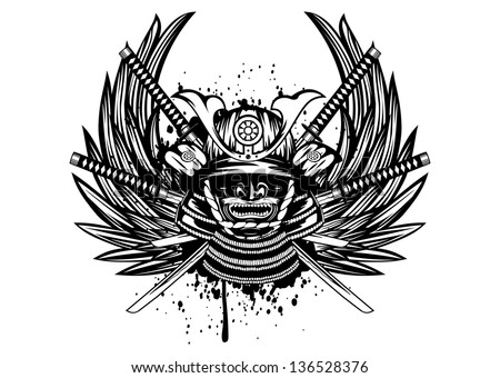 Vector illustration samurai helmet, menpo with yodare-kake, crossed katana and wings - stock vector