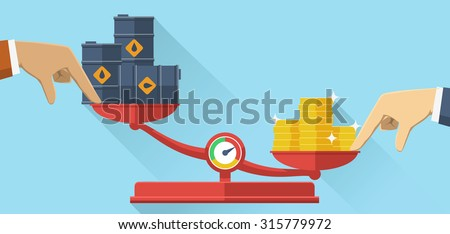 Vector illustration. Scales with oil barrels and gold coins. Concept of opposition on oil market. Oil price. - stock vector