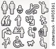 Vector illustration schematic Icons Sign Symbol Pictogram - stock vector