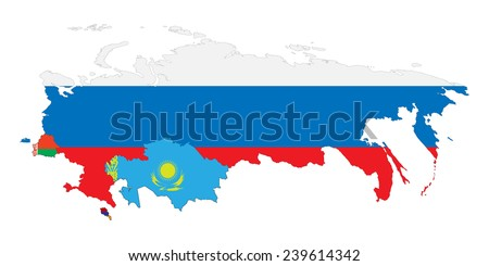 Vector illustration. Schematic map of the member states of Eurasian Economic Union (EAU). National flags  Russia, Belarus, Kazakhstan and Armenia.  Isolated on white background.  - stock vector
