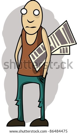 Vector illustration: Scrawny guy with a newspaper under his arm - stock vector