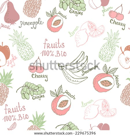 Vector illustration seamless background with fruits,bio.  - stock vector