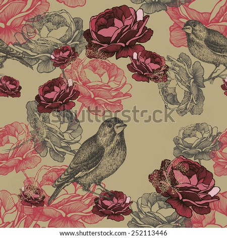 Vector illustration. Seamless floral pattern with roses and birds. - stock vector