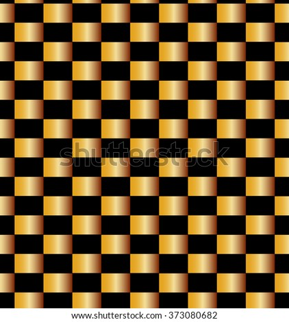 Vector Illustration. Seamless Golden Bricks Pattern on Black Background. Suitable for textile, fabric and packaging