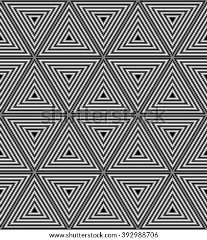 Vector Illustration. Seamless Monochrome Polygonal Pattern. Geometrical Triangle Abstract Pattern with Visual Volume Effect. Suitable for textile, fabric and packaging