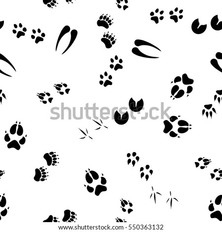 bear footprints template - black tracks animals birds seamless pattern stock vector