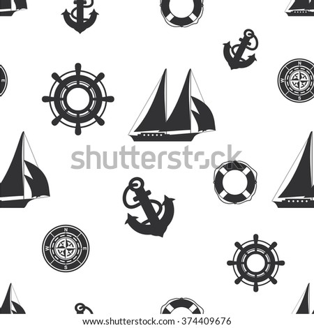 Vector illustration seamless pattern with symbols of nautical - stock vector