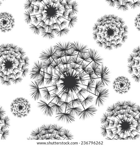 Vector illustration seamless pattern with white-black dandelion - stock vector