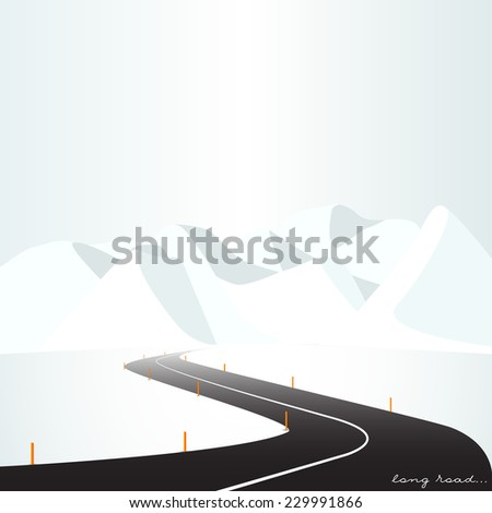 Vector illustration, seasons of the year, flat design, bright contrast colors, winter environment, nature, road, mountains - stock vector