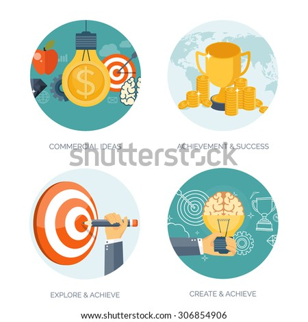 Vector illustration set.Bulb, target, trophy and brains. Flat business concept background. Achievements and mission. Aims and new ideas. Smart solutions. - stock vector
