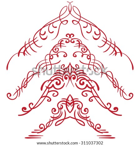 Vector illustration. Set corners on white background - stock vector