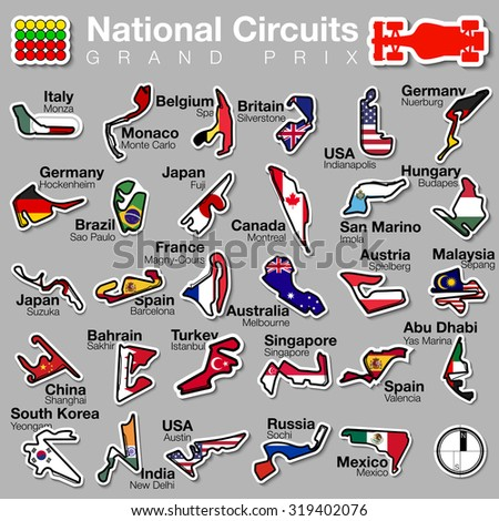 vector illustration Set f1 National street and road Circuits logo. GRAND PRIX formula1  with country flag, icon bolide,Russia,Spain,Japan,Mexico,San Marino,Singapore,Nurburg,Turkey,Italy,Imola,Fuji - stock vector