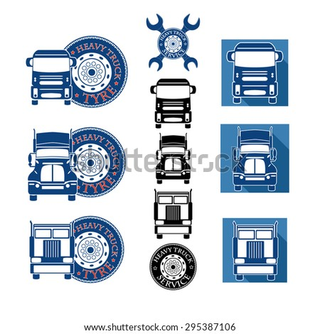 vector illustration set heavy truck automobile service for trade or tire business - stock vector