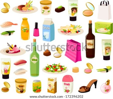 Vector illustration set of a stereotypical rich woman's items. - stock vector