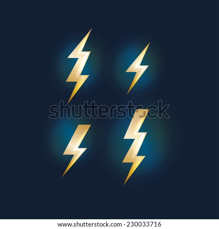 vector illustration set of abstract lightning and electric current symbol - stock vector
