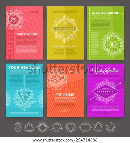 Vector illustration - set of abstract template flyer page design with line drawn  hipster emblem - stock vector