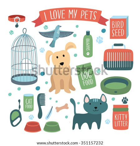Vector illustration set of accessories for pets - stock vector