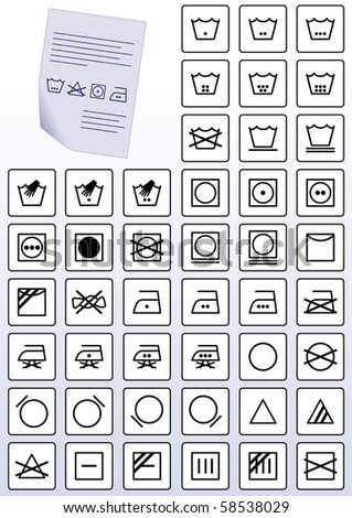 Vector illustration set of apparel care instruction symbols. All vector objects are grouped and tagged with a description of the symbol. - stock vector