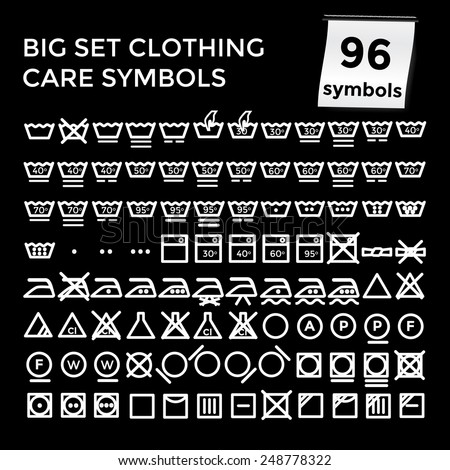 Vector illustration set of apparel care instruction symbols on black background - stock vector