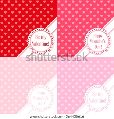 Vector illustration. Set of banners for design poster, card or invite Valentine's Day with hearts and title