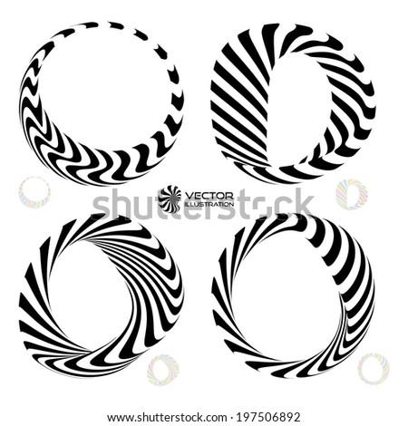 Vector illustration set of black and white 3d bracelets/rings. 3D icons.  - stock vector