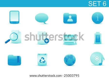 Vector illustration ? set of blue elegant simple icons for common computer and media devices functions. Set-6 - stock vector