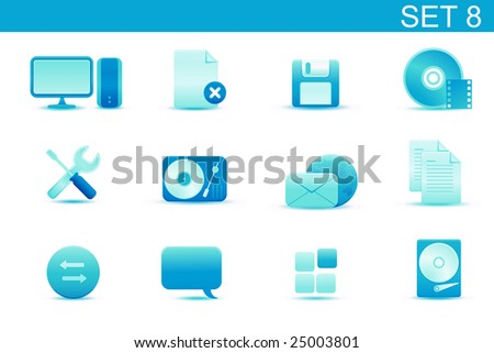 Vector illustration ? set of blue elegant simple icons for common computer and media devices functions.Set-8 - stock vector